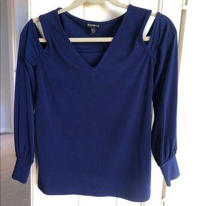 Express cold-shoulder dark blue blouse
